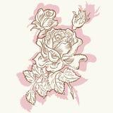 Fiore rosa di disegno decorativo Immagine Stock Libera da Diritti