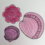 Fiore rosa e disegno a penna ed inchiostro delle conchiglie Fotografia Stock