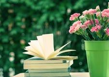 Fiore rosa fresco del garofano con i libri Fotografia Stock Libera da Diritti