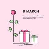 Fiore Rose Set Collection della scatola del presente del giorno della donna di marzo Fotografie Stock