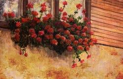 Fiore rosso del geranio nella finestra della casa del villaggio, dettaglio di verniciatura Fotografia Stock Libera da Diritti