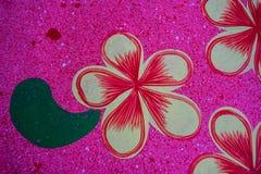 Fiore rosso dipinto sulla tavola Fotografia Stock Libera da Diritti