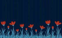 Fiore rosso sopra il fondo di legno blu scuro del recinto royalty illustrazione gratis