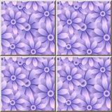 Fiore rotondo blu porpora del giardino della margherita del modello della piastrella di ceramica Fotografia Stock
