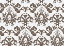 Fiore senza cuciture semplice del modello di vettore del damasco elegante illustrazione di stock