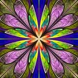 Fiore simmetrico multicolore di frattale nella finestra di vetro macchiato Fotografie Stock Libere da Diritti