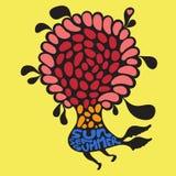 Fiore variopinto con l'insegna di estate del mare del sole Immagini Stock Libere da Diritti