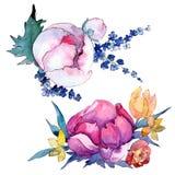 Fiore variopinto del mazzo dell'acquerello Fiore botanico floreale Elemento isolato dell'illustrazione royalty illustrazione gratis