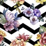 Fiore variopinto del mazzo dell'acquerello Fiore botanico floreale Modello senza cuciture del fondo royalty illustrazione gratis