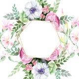 Fiore variopinto di alstroemeria del mazzo dell'acquerello Fiore botanico floreale Modello senza cuciture del fondo illustrazione di stock