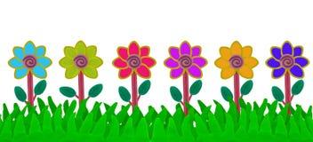 Fiore variopinto sul campo di erba fatto da plasticine Immagine Stock