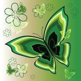 Fiore verde a strisce stilizzato illustrazione di stock