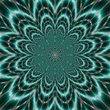 Fiore vibrante luminoso della mandala di vita sul fondo scuro dell'alzavola, su un simbolo spirituale e sulla geometria sacra nel Fotografia Stock Libera da Diritti