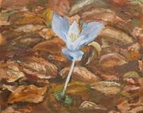 Fiore viola, pittura a olio Fotografia Stock