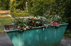 Fiori appassiti della tomba in un contenitore fotografia stock libera da diritti