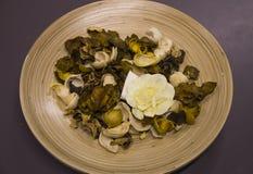 Fiori asciutti in un piatto di legno Fotografia Stock