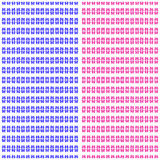 Fiori astratti blu e rosa su un modello senza cuciture del fondo bianco Immagini Stock