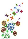 Fiori astratti con le farfalle Fotografia Stock Libera da Diritti