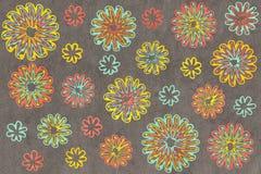 Fiori astratti di color salmone e gialli del blu del seafoam dell'acquerello, sul fondo di gray dell'acquerello Fotografia Stock Libera da Diritti