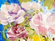 Fiori astratti di pittura acrilica sulla tela Immagini Stock