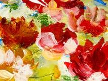 Fiori astratti di pittura acrilica sulla tela Fotografia Stock Libera da Diritti