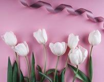 Fiori bianchi dei tulipani sopra fondo rosa-chiaro Cartolina d'auguri o invito di nozze immagine stock
