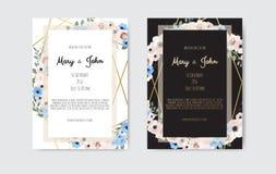 Fiori bianchi e rosa botanici di progettazione del modello della carta dell'invito di nozze, su fondo bianco e nero royalty illustrazione gratis