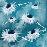 Fiori bianchi fantastici su un fondo blu, acquerello illustrazione vettoriale