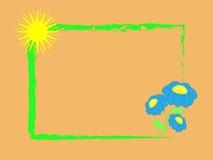 Fiori blu della pagina ed il sole Fotografie Stock Libere da Diritti