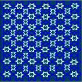 Fiori blu e fiori bianchi e del foglia tessuti in un modello su un fondo verde royalty illustrazione gratis
