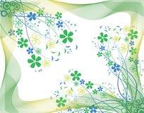 Fiori blu e verdi Fotografia Stock