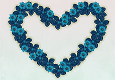 Fiori blu Heart-shaped. Fotografie Stock
