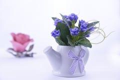 fiori blu in una teiera ceramica su un fondo bianco con un pi fotografia stock libera da diritti