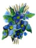 Fiori blu verniciati in acquerello Immagini Stock