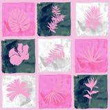 Fiori botanici della siluetta Modello senza cuciture di disegno dell'acquerello di modo dell'illustrazione dell'acquerello della  illustrazione di stock