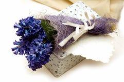 Fiori, casella e cartolina d'auguri blu Immagine Stock