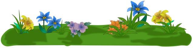 Fiori colorati del fumetto sulla piccola isola dell'erba Immagini Stock Libere da Diritti