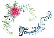 Fiori con i riccioli per gli ornamenti decorativi Immagine Stock