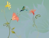 Fiori con il colibrì Fotografia Stock Libera da Diritti