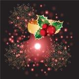 Fiori con il Natale fondo ed il vettore della cartolina d'auguri Illustrazione di Stock