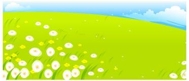 Fiori con il paesaggio verde illustrazione vettoriale