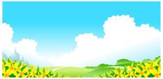 Fiori con il paesaggio verde illustrazione di stock