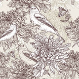 Fiori con l'illustrazione dell'uccello Immagine Stock