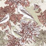 Fiori con l'illustrazione dell'uccello Immagini Stock Libere da Diritti