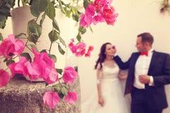 Fiori con la sposa e lo sposo come siluette Fotografia Stock Libera da Diritti