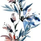 Fiori con le foglie Immagini Stock