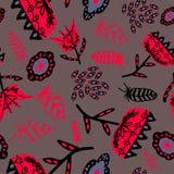 Fiori con le piume nere e rosa su un colore grigio chiaro illustrazione vettoriale