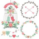 Fiori d'annata e Birdcage di nozze illustrazione di stock