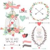 Fiori d'annata e Birdcage di nozze illustrazione vettoriale