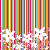 Fiori decorativi, fondo a strisce Fotografia Stock